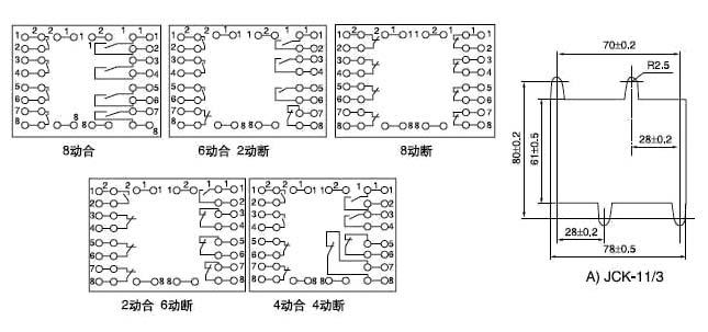 一、用途 BZS-10系列延时中间继电器(以下简称继电器)用于较高精度定时或频繁操作需要0.1s~10s的动作延时或返回延时的各种保护或控制回路中。 二、结构与工作原理 继电器采用JCK-10A/3壳体,其外形尺寸、背后端子及安装开孔图见附录1。背后端子接线图见图1,前接线端子接线图见图2。 继电器由电源、RC延时回路、脉冲发生器,晶闸管触发器及出口中间继电器组成。通过RC电路可获得各种不同的延时,再通过脉冲发生器触发晶闸管,从而使中间继电器带电启动。对于动作延时型继电器,当电源电压施加于211、121端