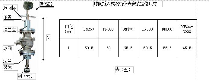 DN300插入式气体流量计尺寸